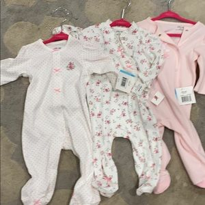 NWT set of 3 little me 6 month sleepers pink